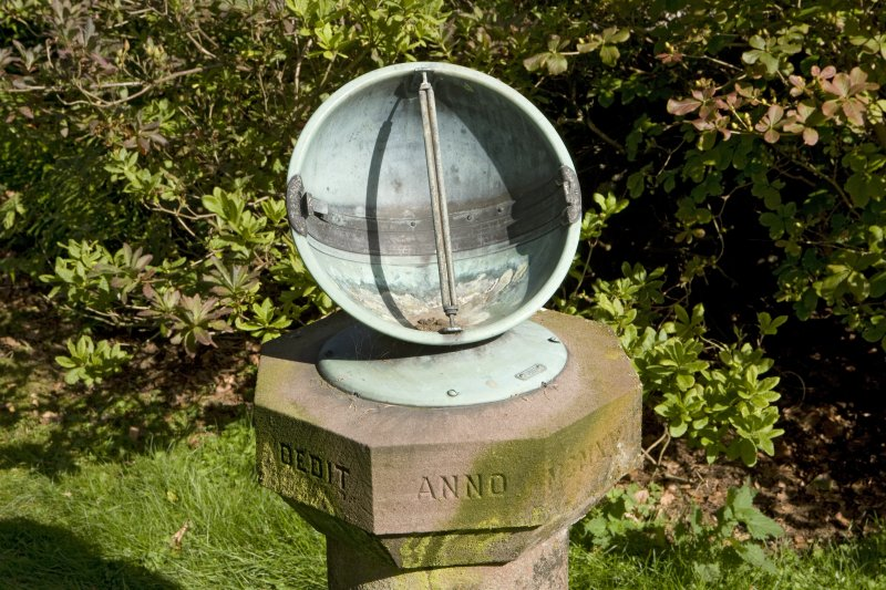 Detail of sundial on lawn to west of Pitscandly House.