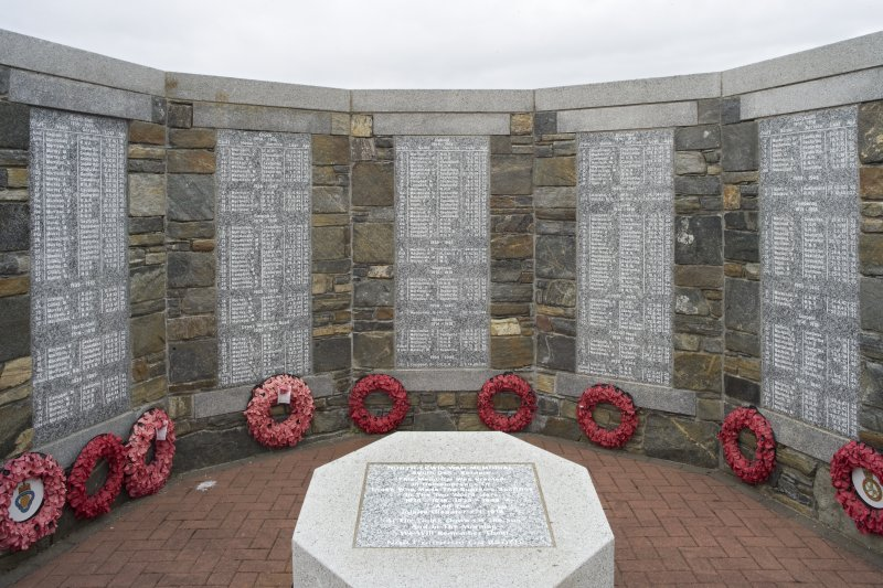 View of the memorial plaques mounted upon the North Lewis War Memorial