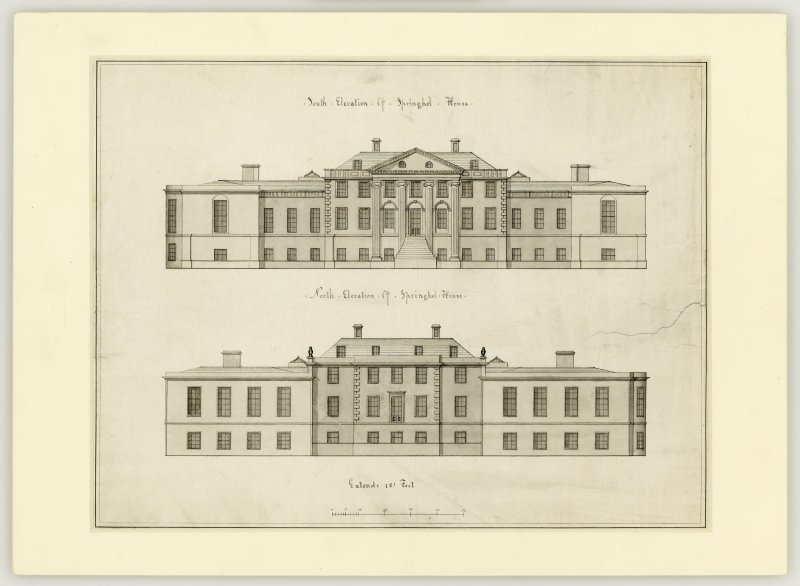 Drawing showing design for north and south elevations with addition of wings.