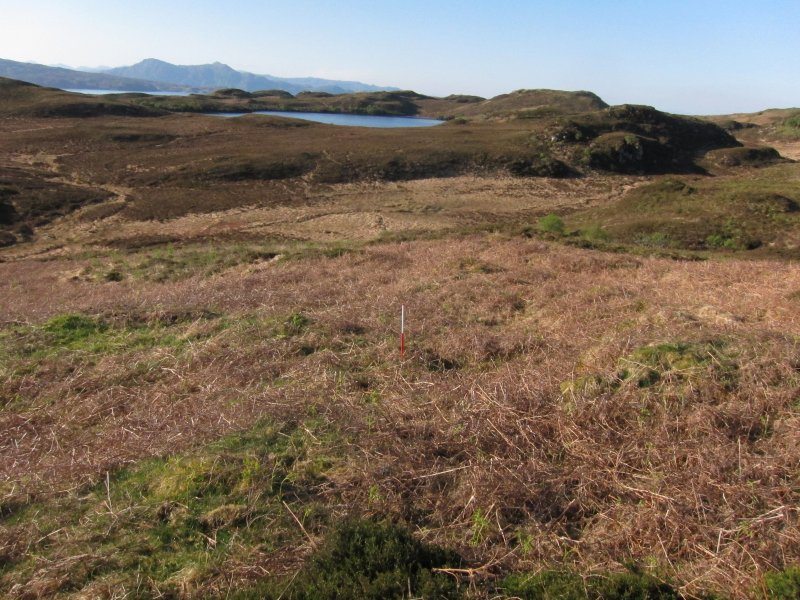 Loch an Ime: view of shieling site and Loch Barabhaig