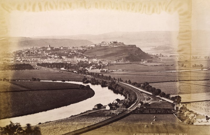 Distant view of Stirling. Titled: 'Stirling from the Abbey Craig. 99 J.V.'