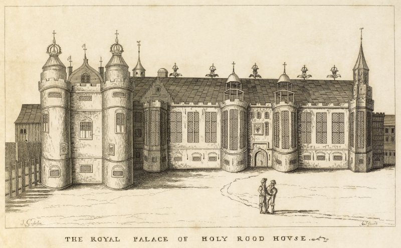 Copy of engraving titled 'The Royal Palace of Holy Rood House.'