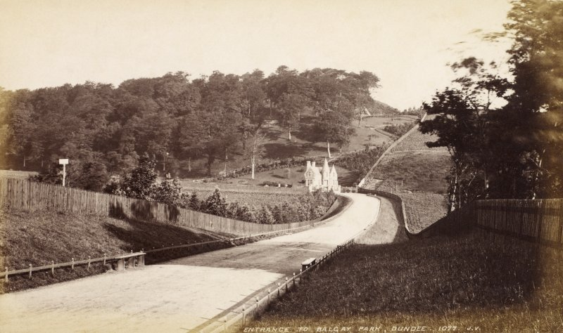 View of park.  Titled: 'Entrance to Balgay Park, Dundee.1077. J.V.'