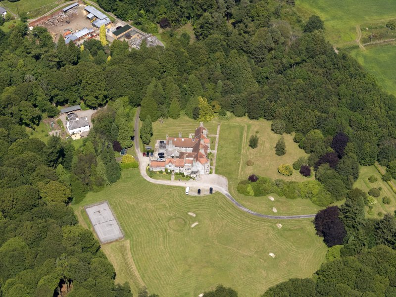 Oblique aerial view of Shennanton House, taken from the SSW.