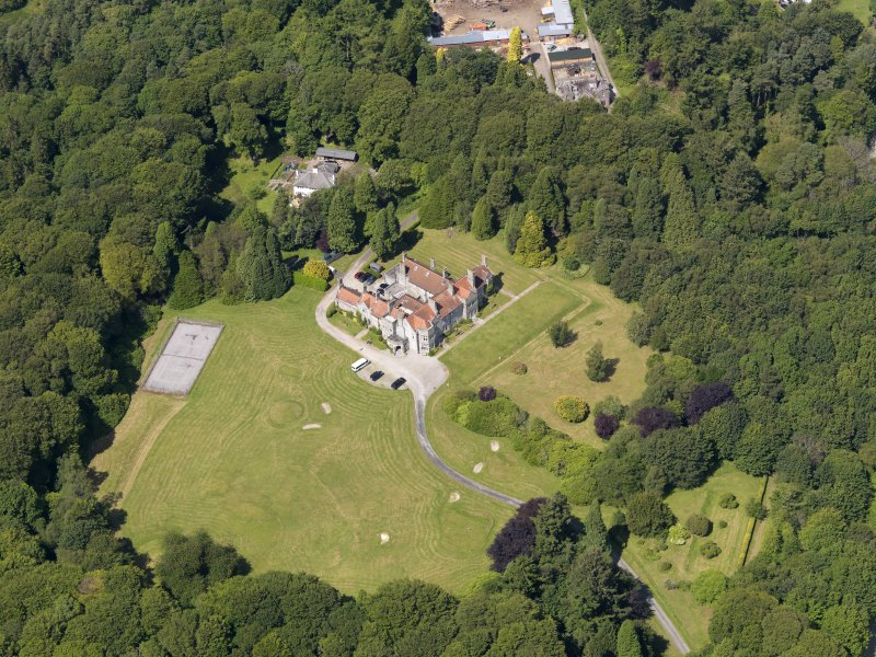 Oblique aerial view of Shennanton House, taken from the SSE.