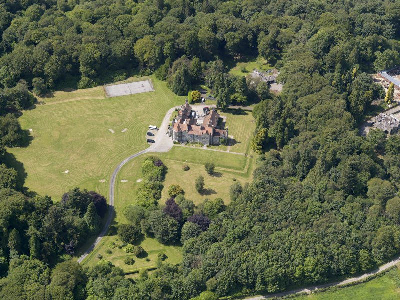 Oblique aerial view of Shennanton House, taken from the E.