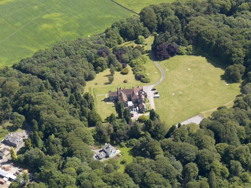 Oblique aerial view of Shennanton House, taken from the WNW.