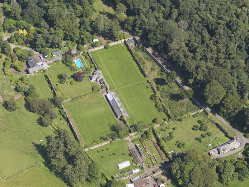 Oblique aerial view of Galloway House walled garden, taken from the WSW.