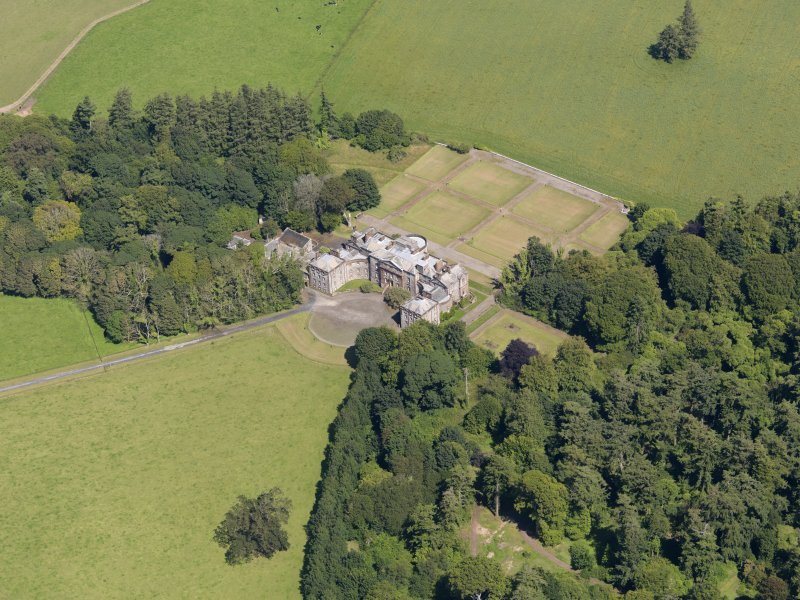 Oblique aerial view of Galloway House, taken from the SW.