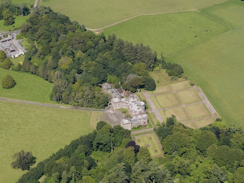 Oblique aerial view of Galloway House, taken from the SSW.