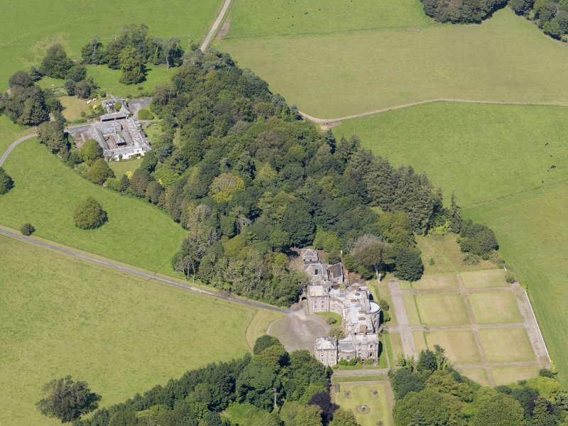 Oblique aerial view of Galloway House, taken from the S.