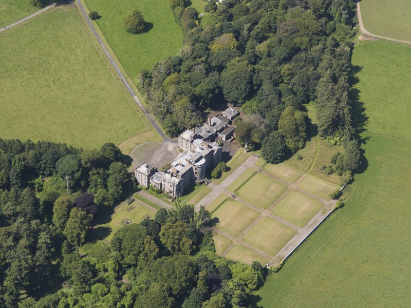 Oblique aerial view of Galloway House, taken from the SE.