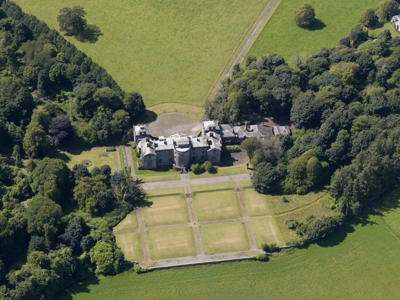 Oblique aerial view of Galloway House, taken from the ESE.