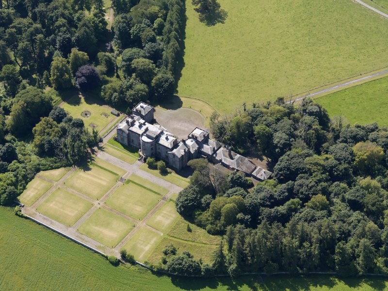 Oblique aerial view of Galloway House, taken from the NE.