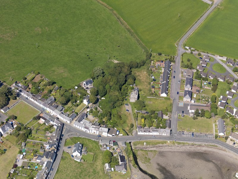 Oblique aerial view of Isle of Whithorn Castle, taken from the S.
