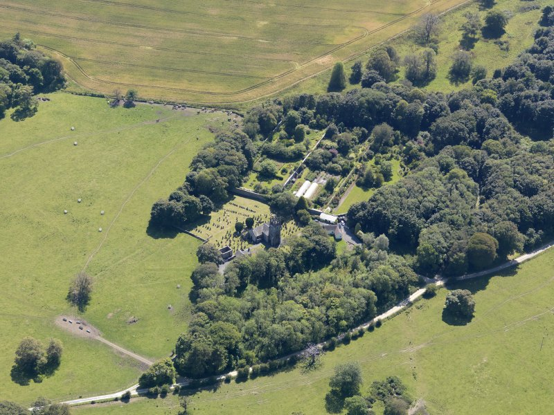 Oblique aerial view of Glasserton Parish Church, taken from the N.