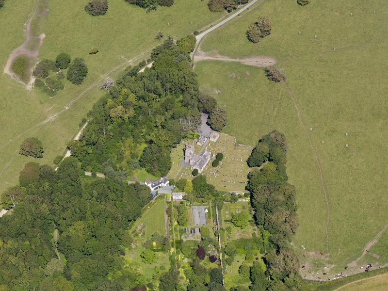 Oblique aerial view of Glasserton Parish Church, taken from the SW.