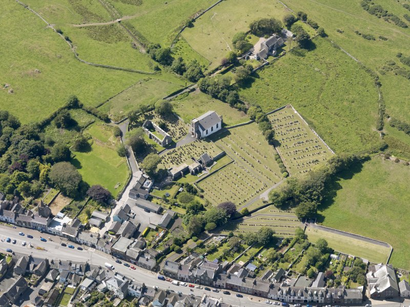 Oblique aerial view of Whithorn Parish Church, taken from the E.