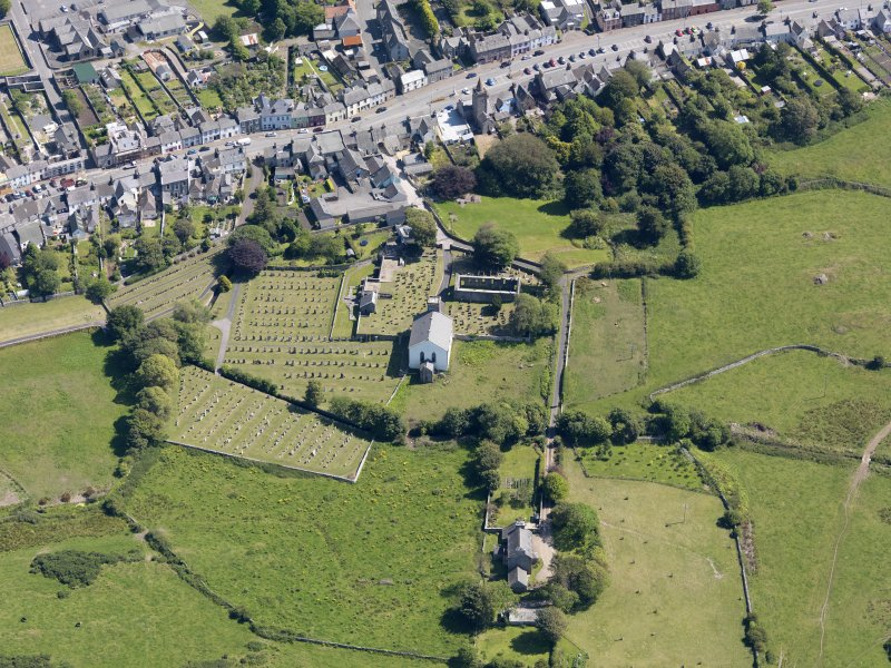 Oblique aerial view of Whithorn Parish Church, taken from the NW.