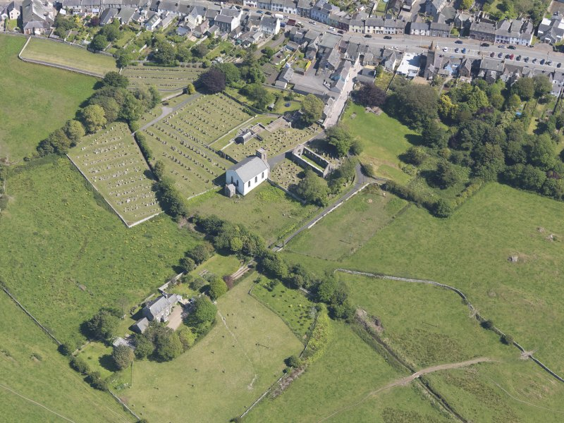 Oblique aerial view of Whithorn Parish Church, taken from the W.