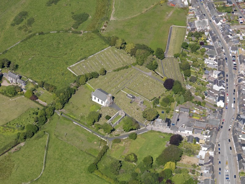 Oblique aerial view of Whithorn Parish Church, taken from the S.