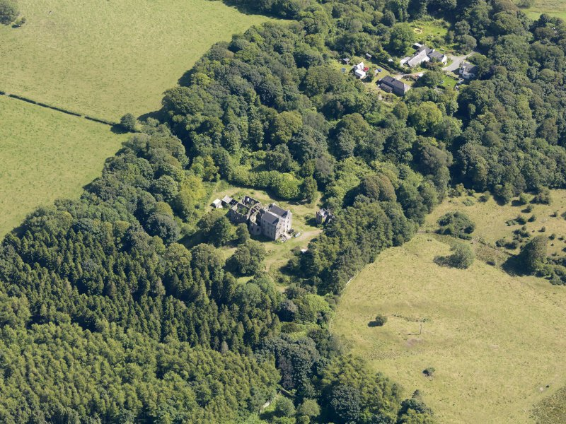 General oblique aerial view of Ravenstone Castle and policies, taken from the NW.