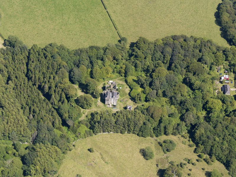 General oblique aerial view of Ravenstone Castle and policies, taken from the WSW.