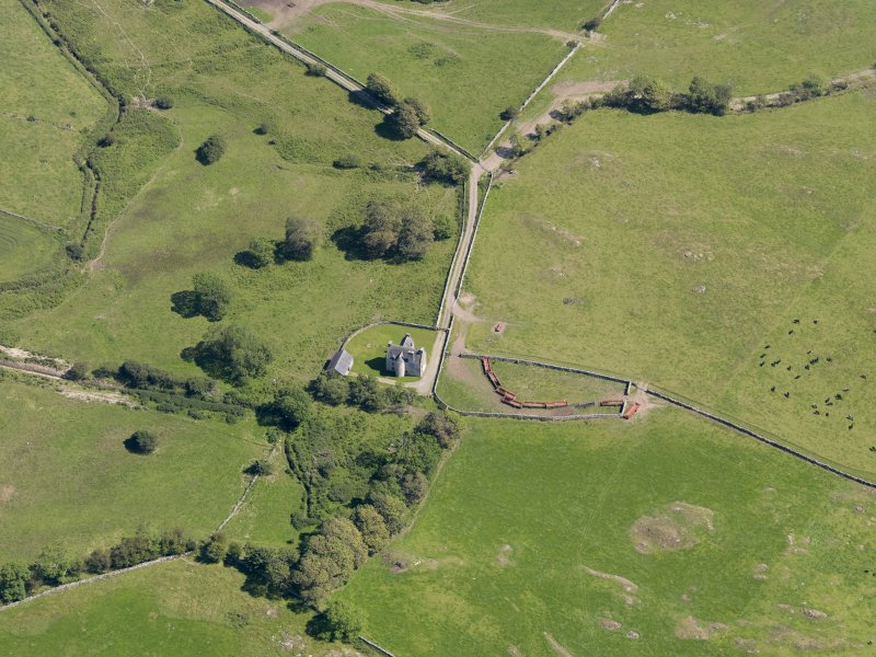 Oblique aerial view of Old Place of Monreith, taken from the NW.