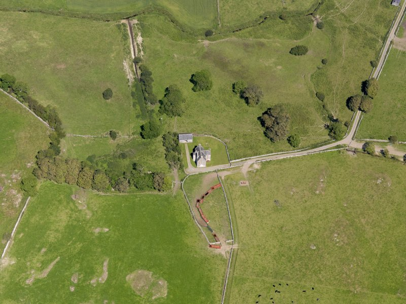 Oblique aerial view of Old Place of Monreith, taken from the SW.