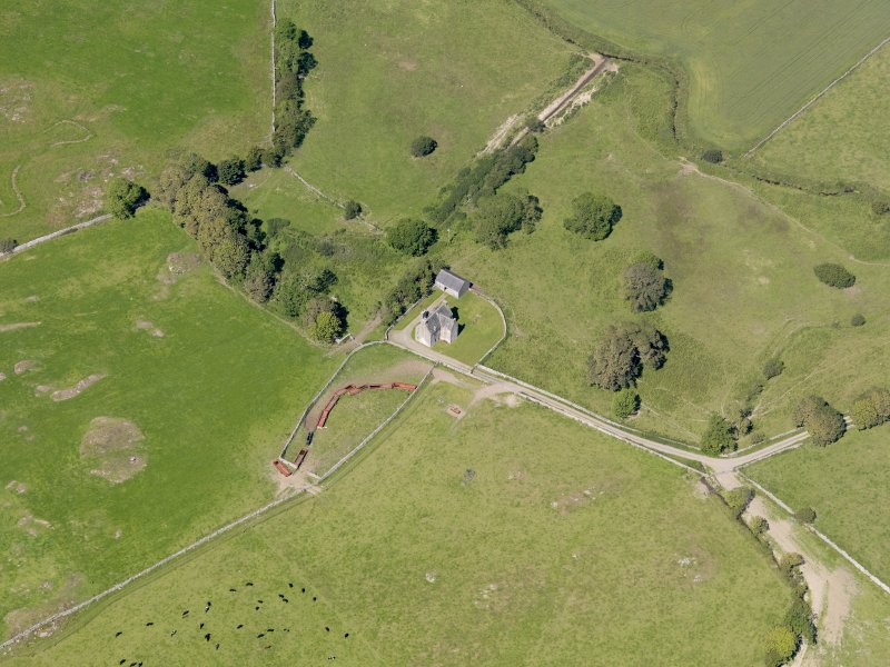 Oblique aerial view of Old Place of Monreith, taken from the S.