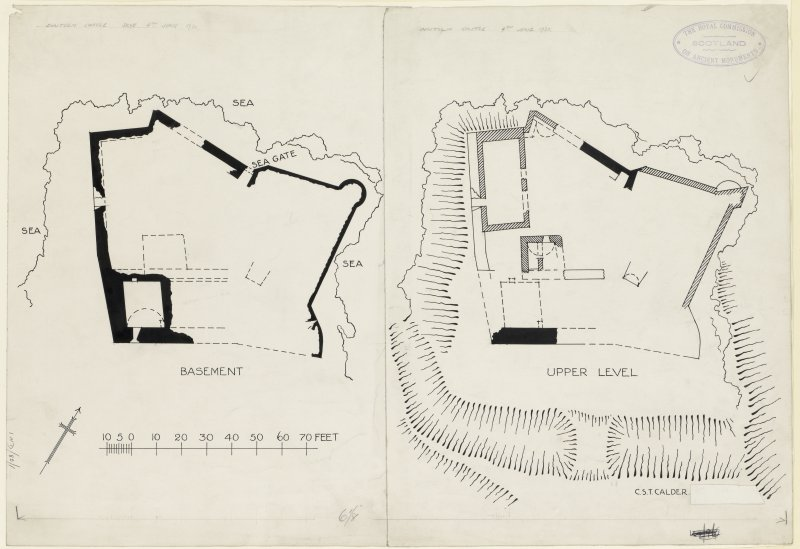 Publication drawings of Duntulm Castle, surveyed 4th June 1921.