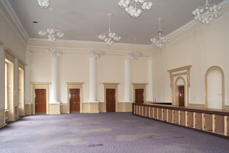 Interior. 1st floor, main hall, view from SW