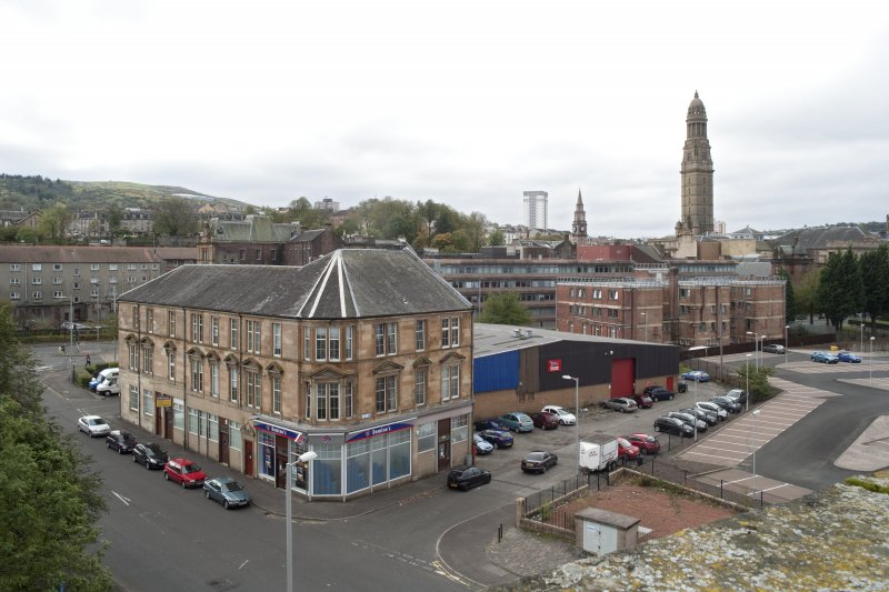 Roof, view looking SW to tenement and town hall tower