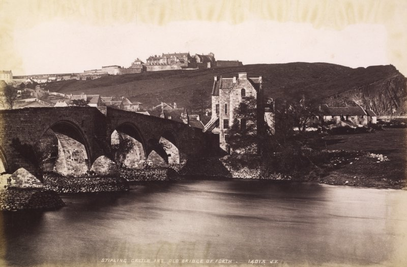 General view. Stirling castle and Old Bridge of Forth. Titled ' STIRLING CASTLE AND OLD BRIDGE OF FORTH. 14015 J.V.' PHOTOGRAPH ALBUM NO:11 KIRSTY'S BANFF ALBUM