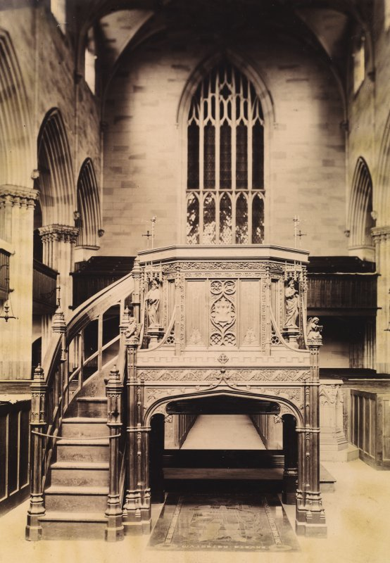 Interior view of Dunfermline Abbey. Titled 'Bruces's Grave Dunfermline Abbey' PHOTOGRAPH ALBUM NO:11 KIRSTY'S BANFF ALBUM