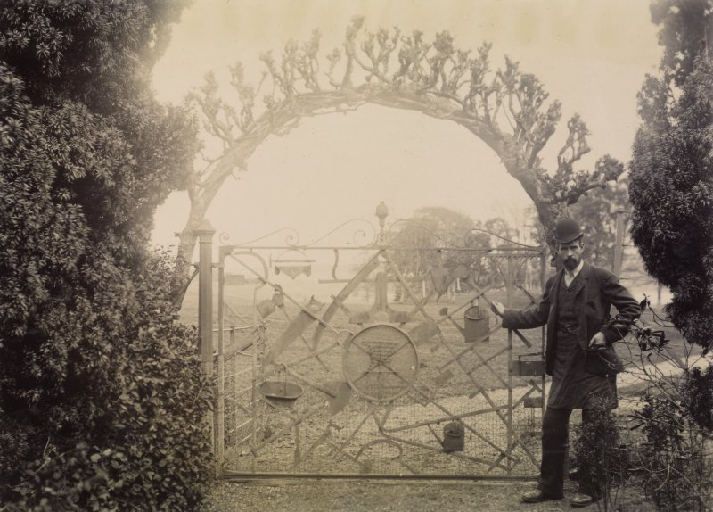 View of gate, possibly at Douglas Castle.  Titled: 'Gate in garden'.  PHOTOGRAPH ALBUM No 11: Kirsty's Banff Album