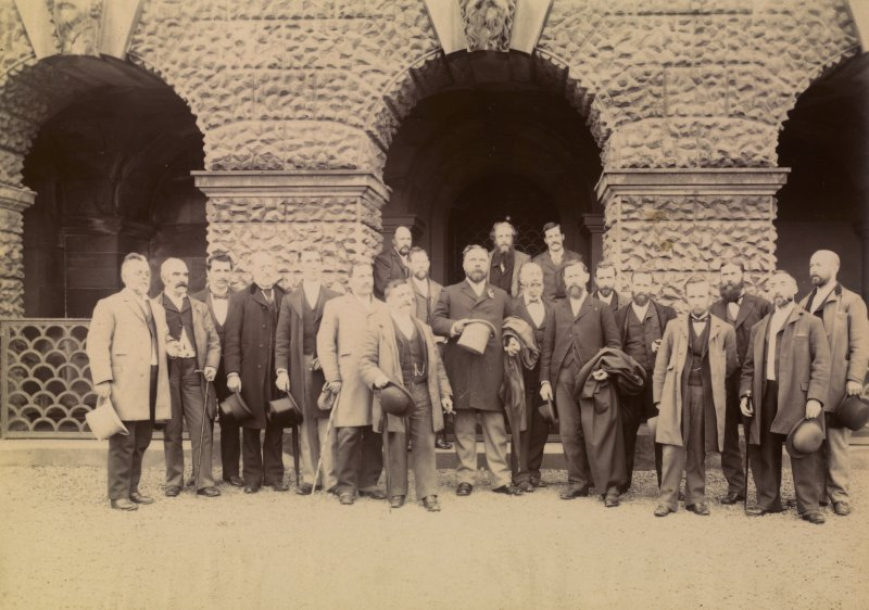 View of group standing in front of Hamilton Palace. Titled ' MAUSOLEUM- Hamilton Palace.' PHOTOGRAPH ALBUM NO:11 KIRSTY'S BANFF ALBUM