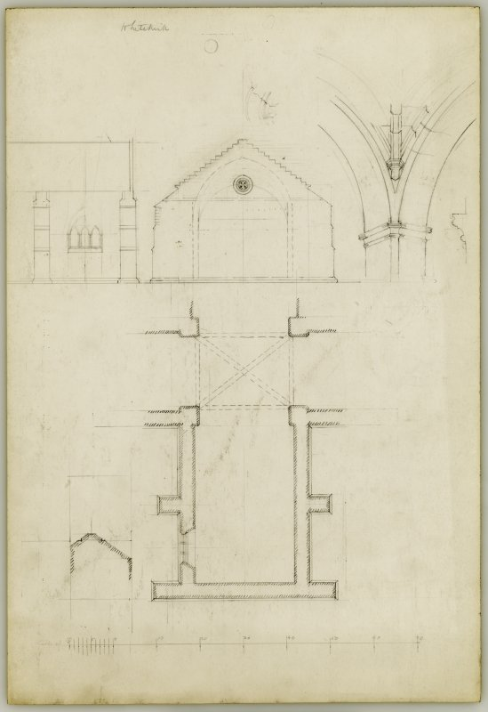 Plan of Choir, Elevation of East End and Details