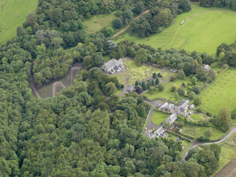 Oblique aerial view of Abercorn Church, taken from the SW.