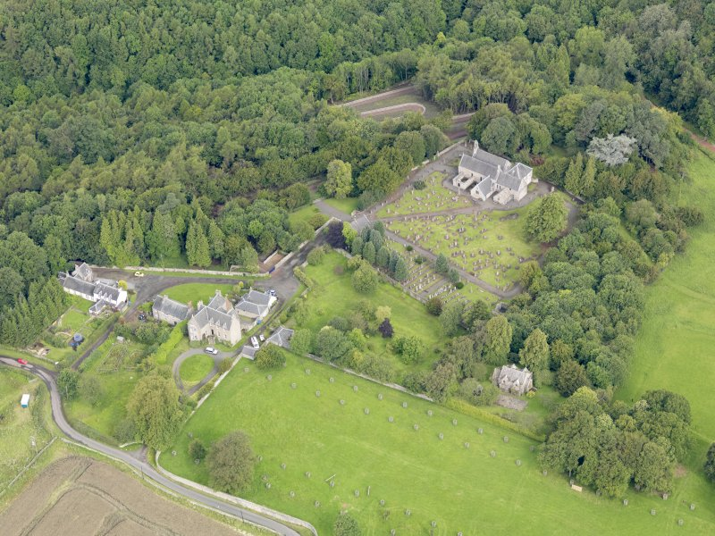 Oblique aerial view of Abercorn Church, taken from the SE.
