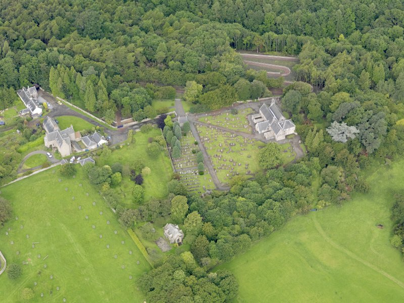 Oblique aerial view of Abercorn Church, taken from the ESE.
