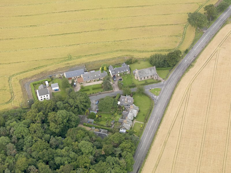 Oblique aerial view of Kingscavil Cottages, taken from the E.