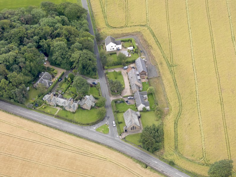 Oblique aerial view of Kingscavil Cottages, taken from the N.