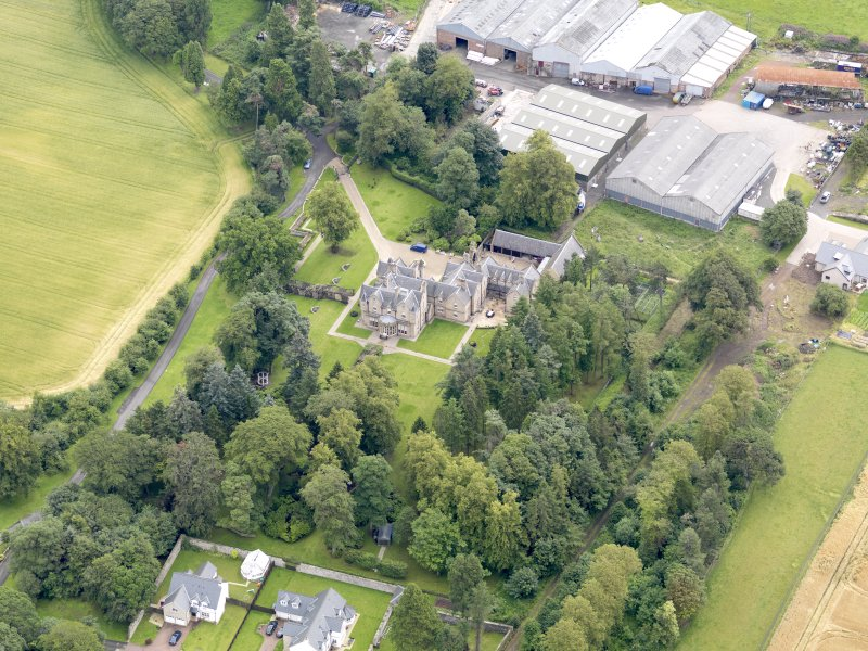 Oblique aerial view of Preston House, taken from the WSW.