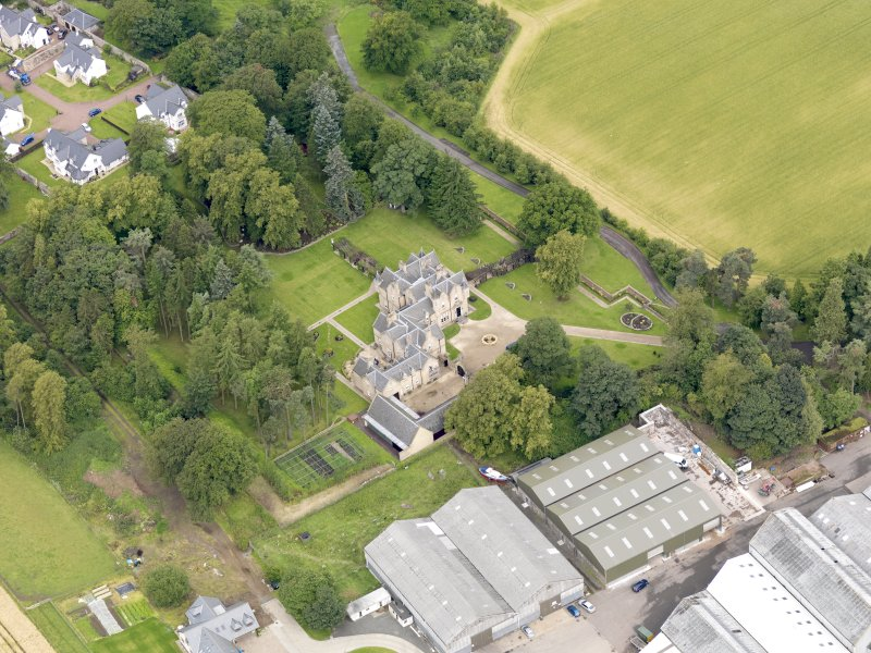Oblique aerial view of Preston House, taken from the SE.