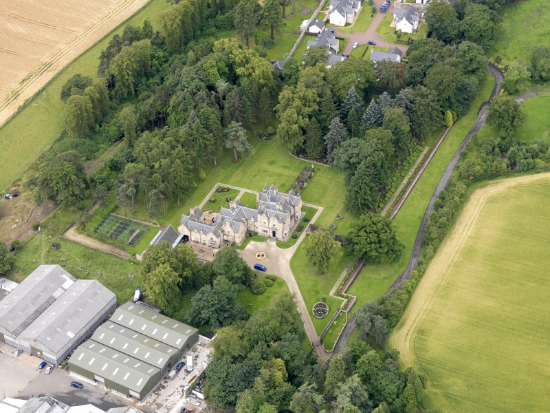 Oblique aerial view of Preston House, taken from the ENE.
