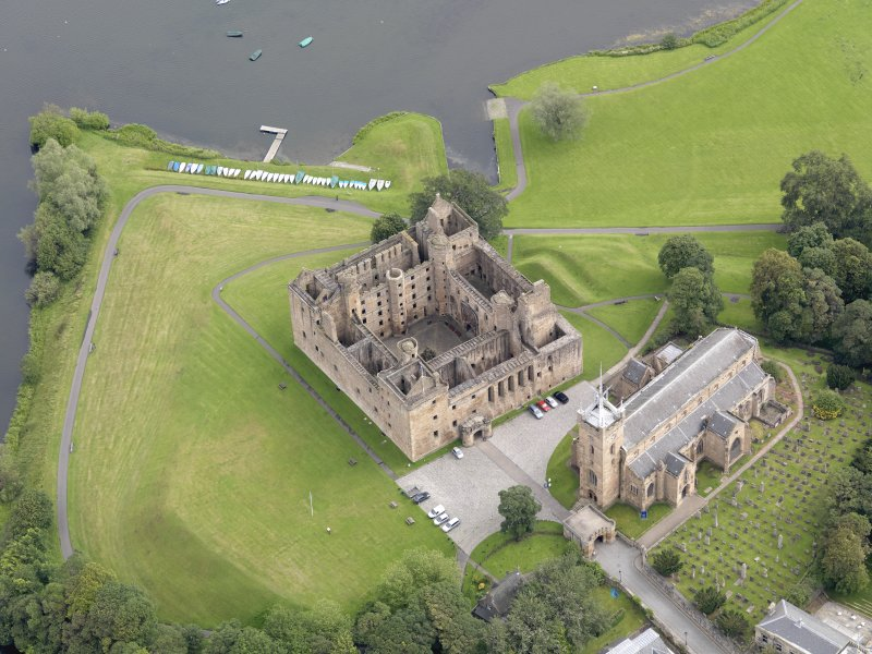 Oblique aerial view of Linlithgow Palace, taken from the SSW.