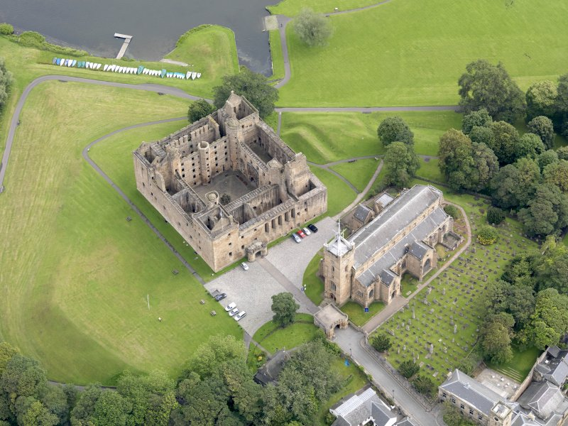 Oblique aerial view of Linlithgow Palace, taken from the SW.