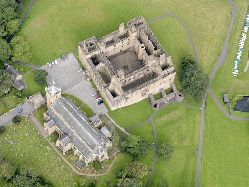 Oblique aerial view of Linlithgow Palace, taken from the SE.