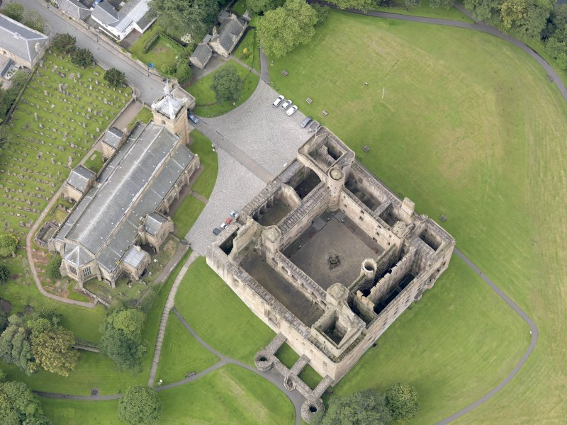 Oblique aerial view of Linlithgow Palace, taken from the NE.